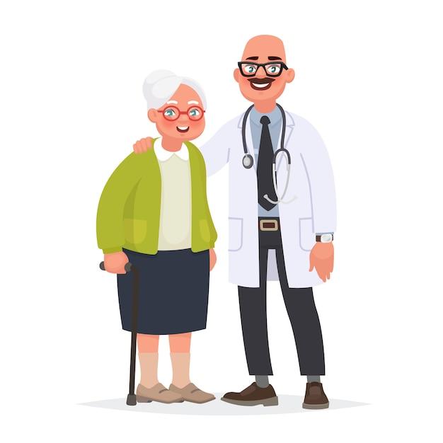 Médico e um paciente idoso. avó e trabalhador médico. cuidar da saúde em idade avançada Vetor Premium