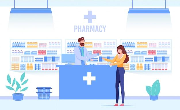 Médico farmacêutico com cliente no balcão da drogaria Vetor Premium