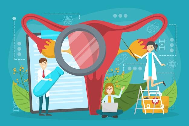 Médico faz o conceito de exame do útero. ginecologia e feminino Vetor Premium