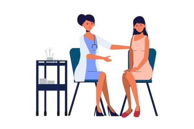 Médico ginecológico e paciente no hospital. personagem de pessoas do laboratório médico de saúde. Vetor Premium
