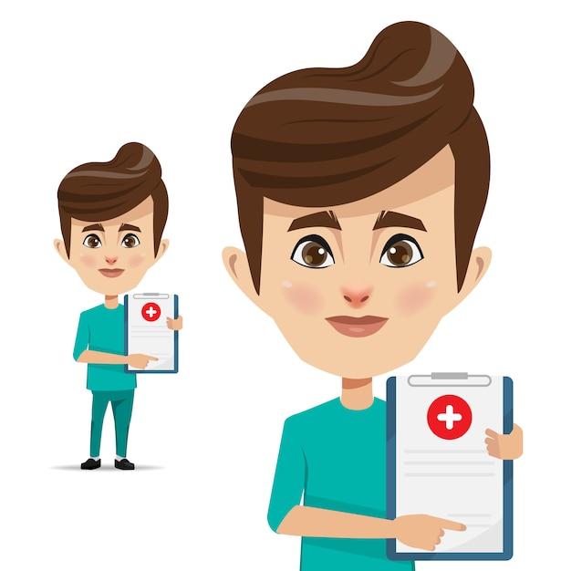 Médico homem com atestado médico para assinatura Vetor Premium