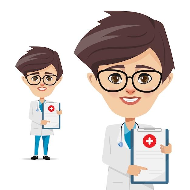 Médico homem com documento para assinatura Vetor Premium