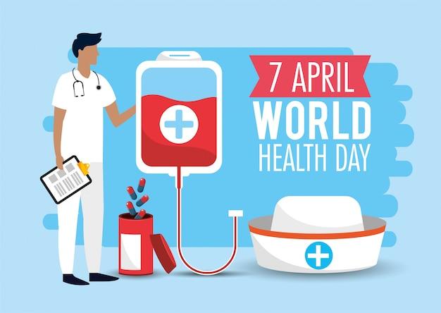 Médico homem, com, sangue, doação, para, saúde, dia Vetor Premium