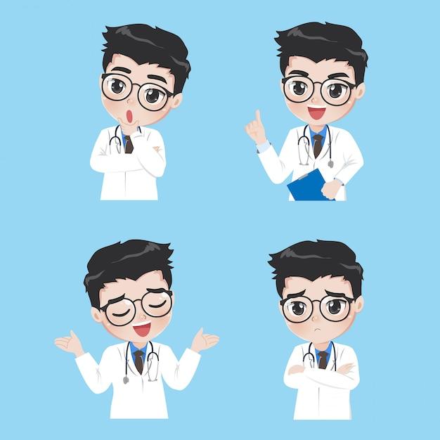 Médico mostra uma variedade de gestos e ações em roupas de trabalho. Vetor Premium