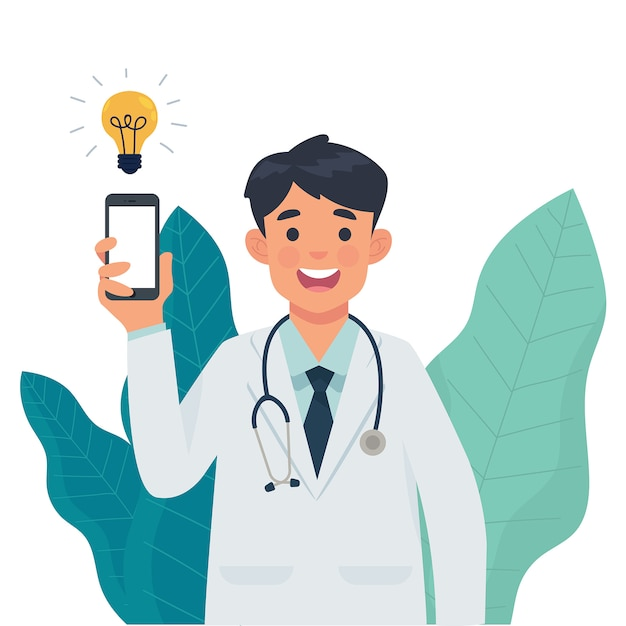 Médico mostrar smartphone na mão Vetor Premium