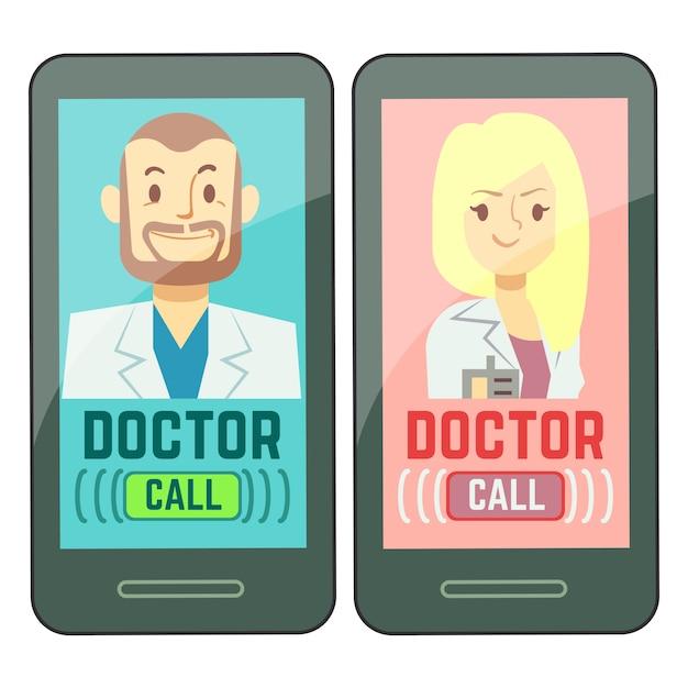 Médico móvel plano, consultor de medicina masculino e feminino personalizado em smartphone Vetor Premium