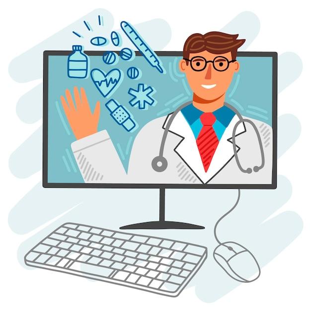 Médico on-line ilustrado Vetor grátis