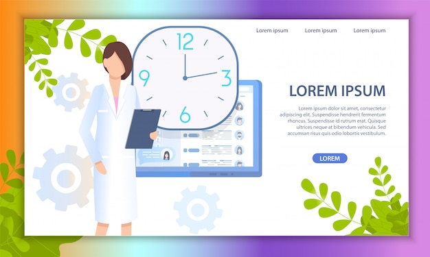 Médico on-line médico serviço flat vector site Vetor Premium