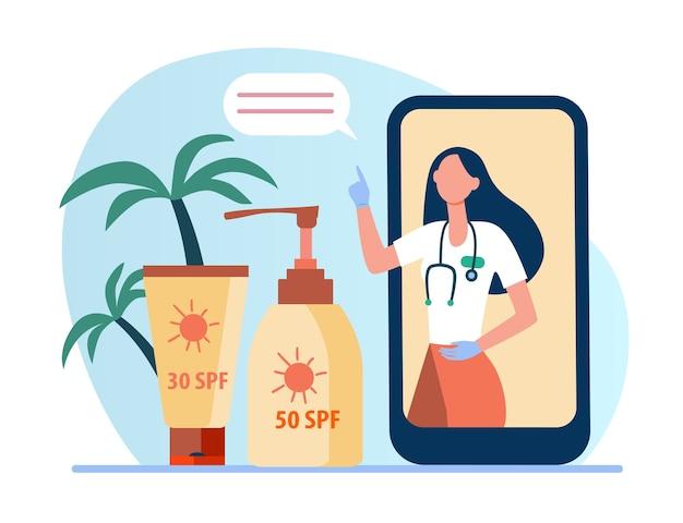 Médico online recomendando protetor solar. tela do telefone, frasco de protetor solar, tubo de loção ilustração plana. Vetor grátis