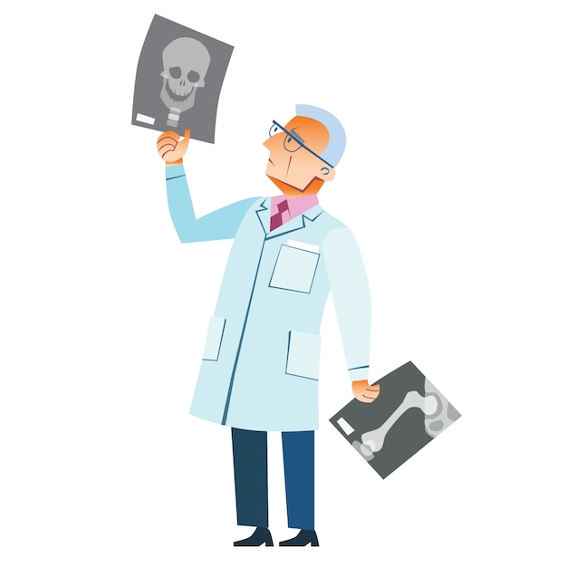 Médico ortopedista fratura de raio-x crânio medicina Vetor Premium