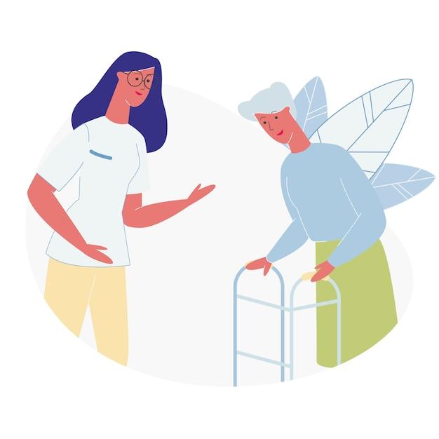 Médico ou enfermeira comunicando-se com mulher sênior Vetor Premium