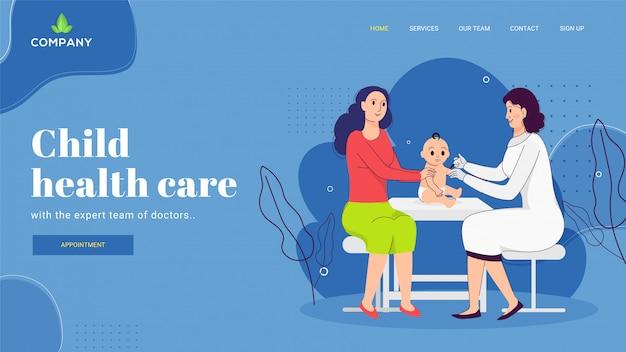 Médico pediatra fazendo injeção a criança com a mãe para o conceito de cuidados infantis. design da web ou da página de destino. Vetor Premium