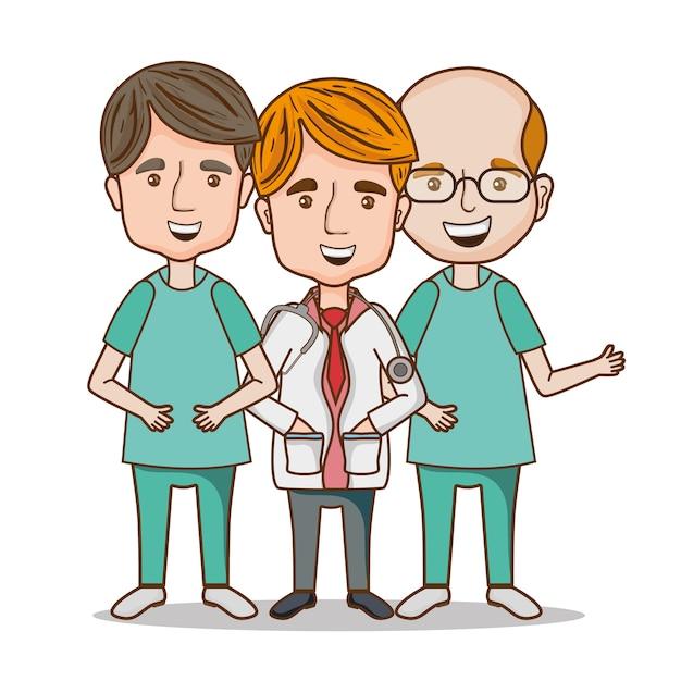 Médico profissional com uniforme e estetoscópio Vetor Premium