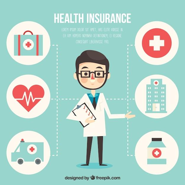 Médico profissional e ícones médicos Vetor Premium