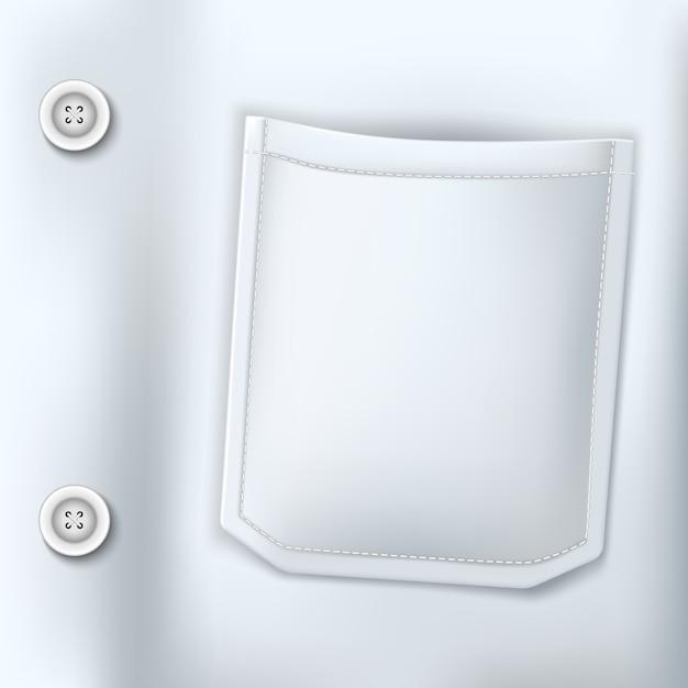 Médico realista terno branco closeup bolso Vetor Premium