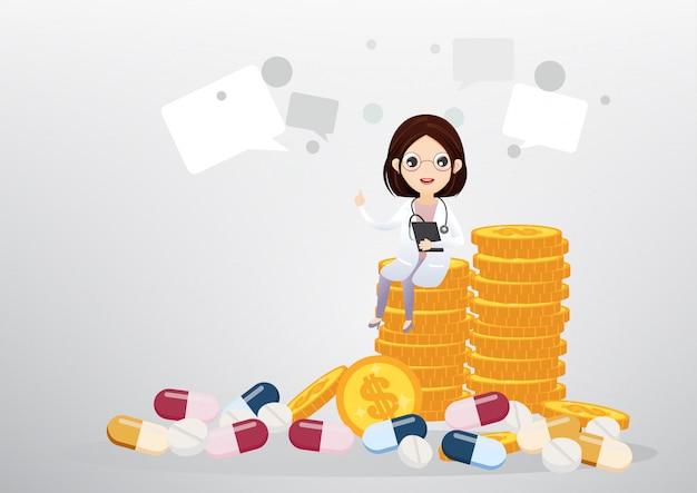 Médico sentado no conceito de moedas, negócios e cuidados de saúde Vetor Premium