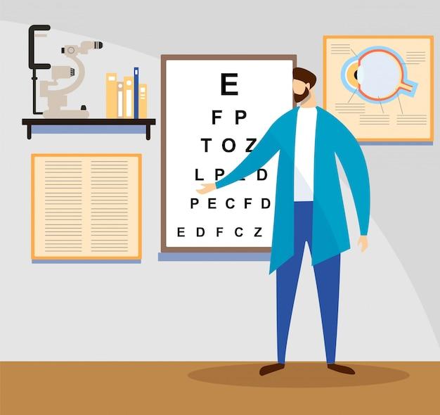 Médico stand at sight check board para teste de visão. Vetor Premium