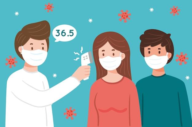 Médico, verificar a temperatura do corpo Vetor grátis