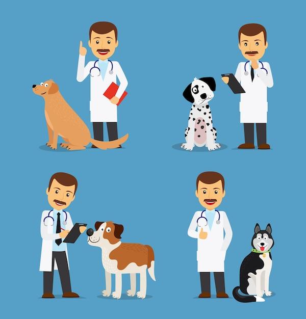 Médico veterinário com cães Vetor Premium
