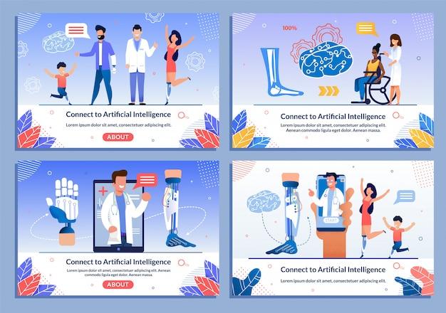 Médicos consultoria pacientes deficientes banner conjunto Vetor Premium