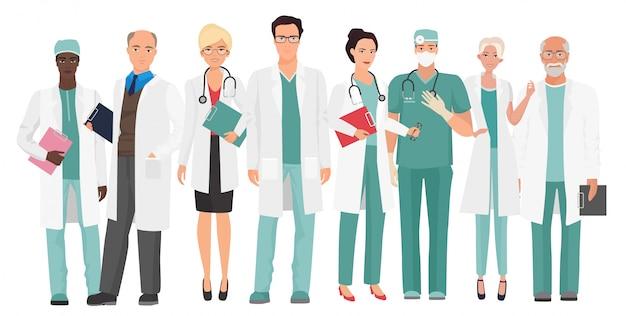 Médicos da equipe médica do hospital Vetor Premium