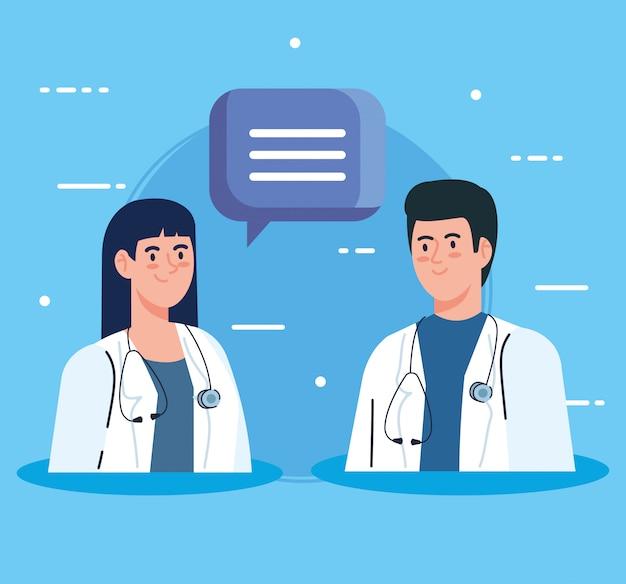 Médicos de casal com estetoscópio e bolha do discurso Vetor grátis