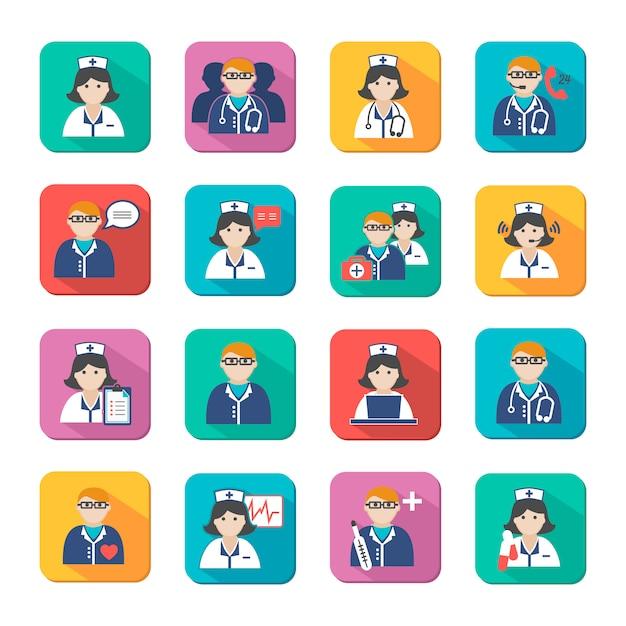 Médicos de medicina e enfermeiros avatar conjunto Vetor Premium