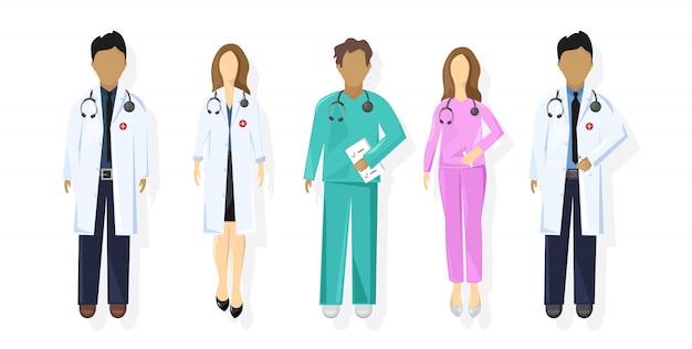 Médicos definir estilo simples. conceito de material médico. praticante jovens médicos homens e mulheres Vetor Premium