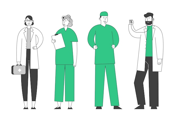 Médicos e enfermeiras vestindo túnicas com ferramentas médicas postam-se em fila, falando e se comunicando na clínica, hospital, equipe de saúde no trabalho, profissão médica, ocupação, Vetor Premium