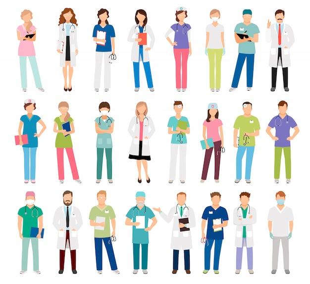 Médicos e enfermeiros femininos e masculinos Vetor Premium