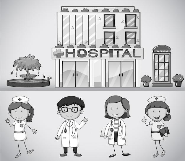 Médicos e enfermeiros que trabalham no hospital Vetor grátis