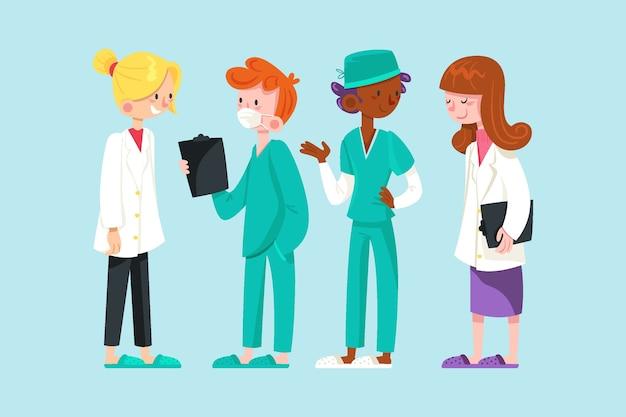 Médicos e enfermeiros trabalhando juntos Vetor grátis