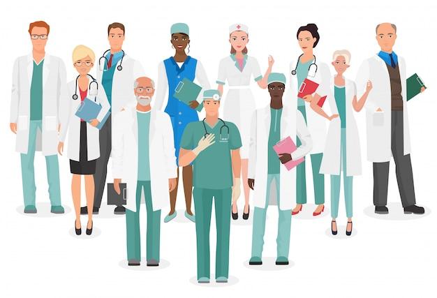 Médicos, equipe médica, equipe, doutores Vetor Premium