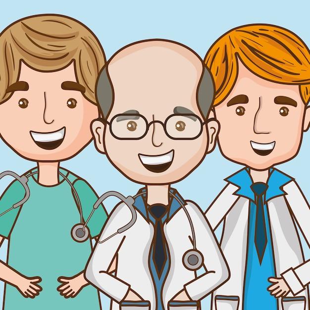 Médicos especialistas com estetoscópio e uniforme Vetor Premium