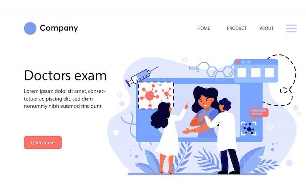 Médicos estudando doenças de pele. modelo de site ou página de destino Vetor grátis