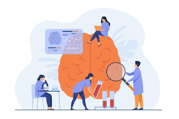 Médicos fazendo pesquisas médicas em cérebro humano e testando amostras de sangue. Vetor grátis
