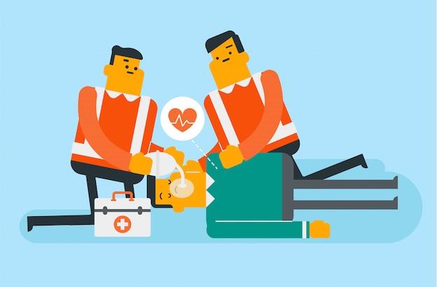 Médicos fazendo ressuscitação cardiopulmonar. Vetor Premium