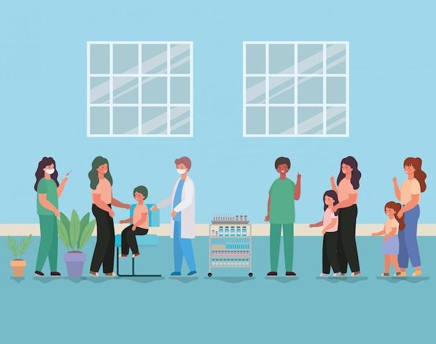 Médicos femininos e masculinos, vacinação de crianças e mães design de ilustração de tema de cuidados médicos saúde e emergência Vetor Premium