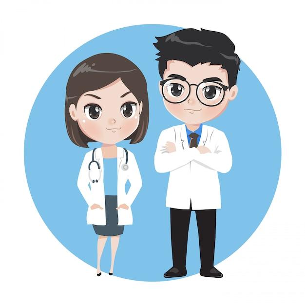 Médicos masculinos e femininos, personagens de desenhos animados. Vetor Premium