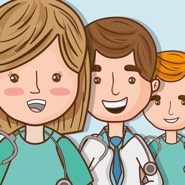 Médicos profissionais com especialista em uniforme Vetor Premium