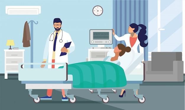 Médicos, tratar, paciente, apartamento, vetorial, ilustração Vetor Premium