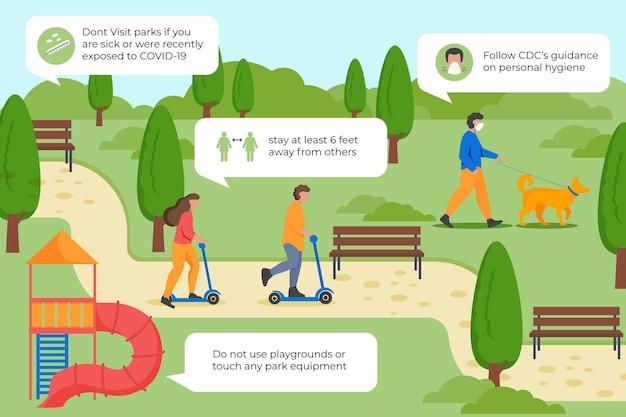 Medidas preventivas do parque Vetor grátis