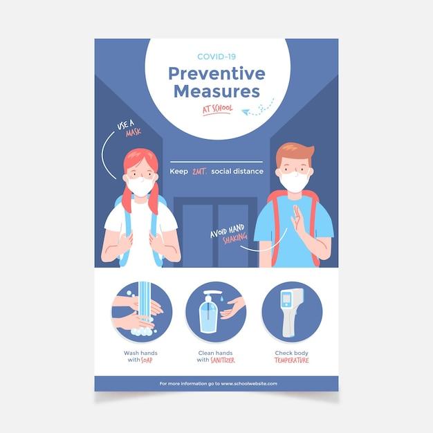 Medidas preventivas na escola - pôster Vetor grátis