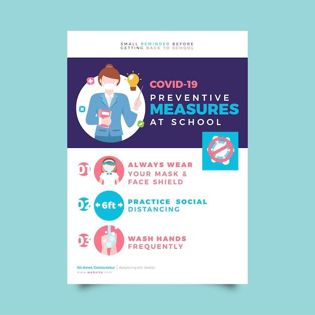 Medidas preventivas no design do pôster escolar Vetor grátis