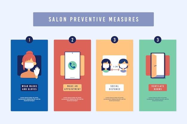 Medidas preventivas para salões de beleza Vetor grátis