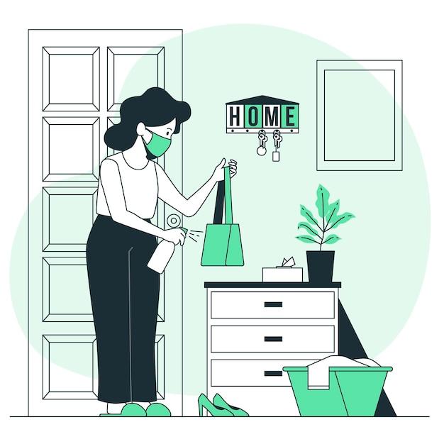 Medidas preventivas quando você chegar em casa ilustração do conceito Vetor grátis