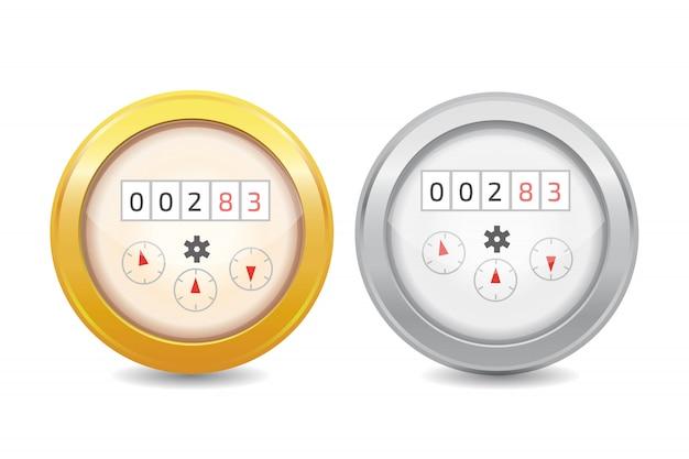 Medidor de água analógico vector icon ilustração. equipamento sanitário Vetor Premium