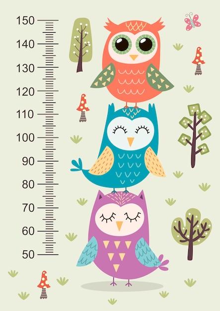 Medidor de altura de crianças com corujas bonitos. Vetor Premium