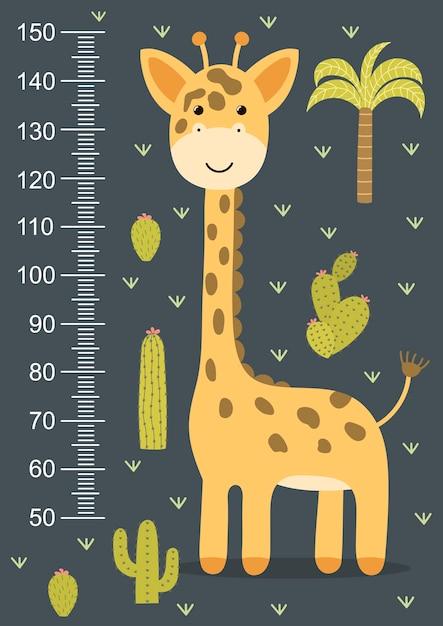 Medidor de altura de crianças com uma girafa bonitinha. estadiômetro engraçado de 50 a 150 centímetros. Vetor Premium