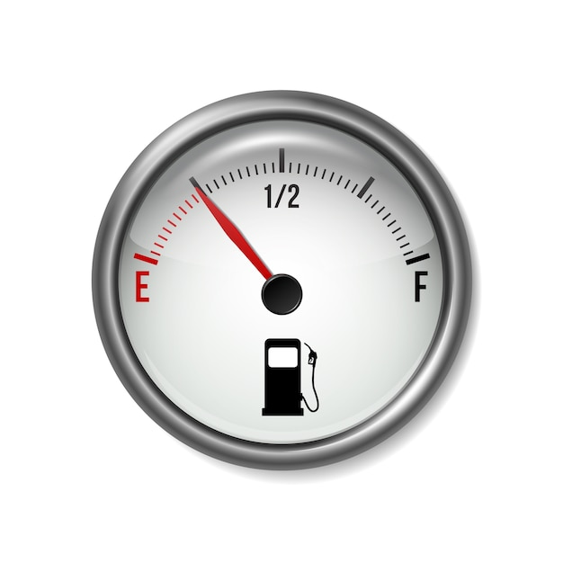 Medidor de combustível medidor branco redondo com moldura cromada Vetor Premium